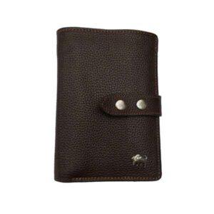 کیف پول جیبی دو دکمه چرم بوفالو سیاه مدل 1166