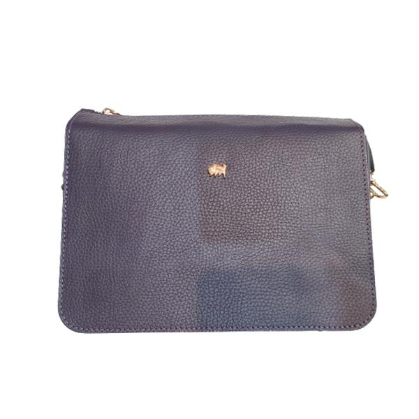 کیف دوشی زنانه چرم بوفالو سیاه مدل 2249